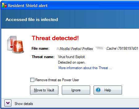 AVG Notification: Threat Detected in a Cache File