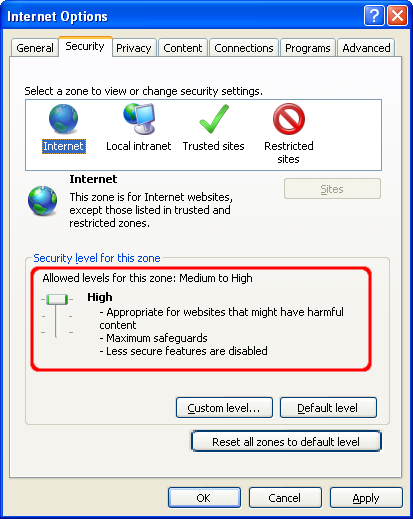 IE's security settings