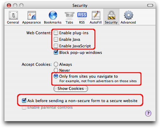 Safari's security settings