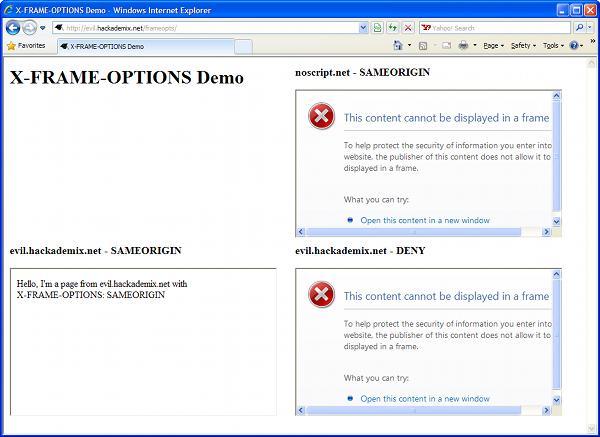 X-IFRAME-OPTIONS demo in IE8 screenshot