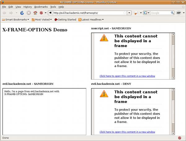 X-IFRAME-OPTIONS demo in Firefox screenshot