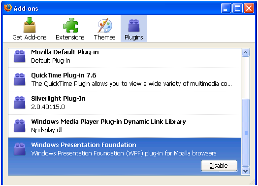 Windows Presentation Foundation Plugin in the Add-Ons Manager