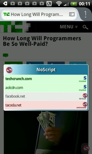 NSA++, NoScript on Android