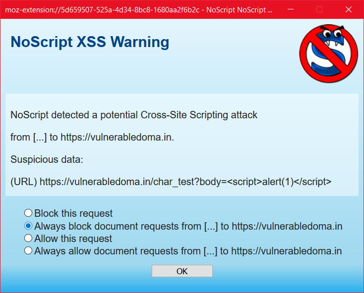 "XSS Prompt with ""Always Block"""
